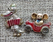 2 very rare soviet pin badge Cheburashka and Gena a character of children Russian cartoon. Made in the USSR.