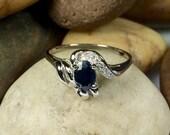 Black Sapphire and Swarovski Crystal 925 Sterling Silver ring. Fancy Sapphire and Silver Ring