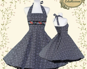 50's vintage dress Tailor Made black eco friendly cotton with roses print and jaquard rose ribbon