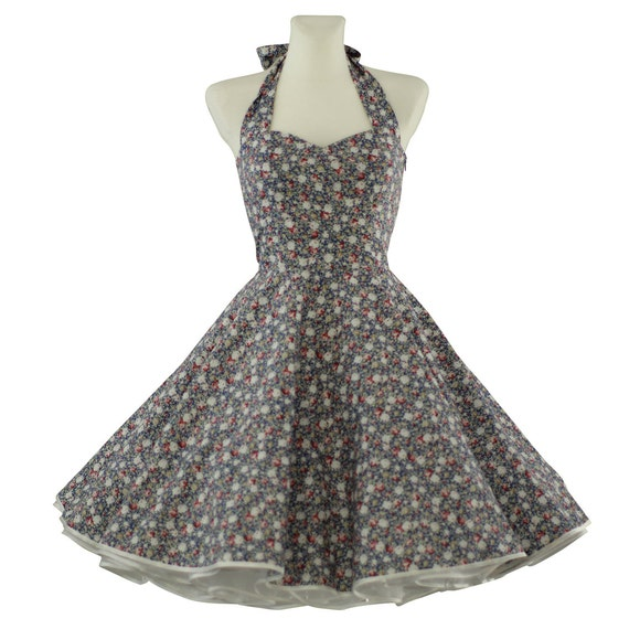 Ann es 50 robe vintage tailor made mille fleur bleu gris - Frigo vintage annees 50 ...