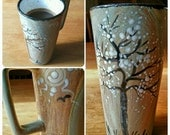 Custom ceramic coffee/tea travel mugs to order,14oz., Christmas gift for her or him, nontoxic ceramic glazes hand painted, one of a kind