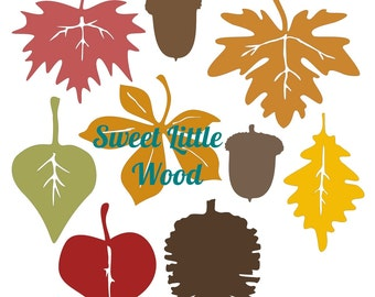 Autumn Leaf Collection,  3 x digital SVG file in line format with no fill, white fill and color fill format. PNG