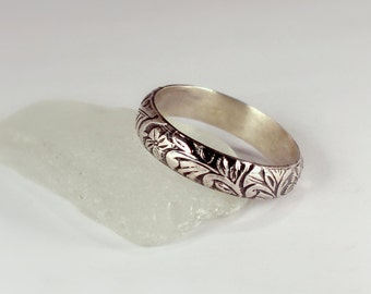 Patterned Silver Band Ring, Sterling Silver, Made to Order