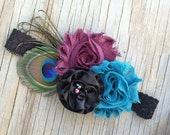 Shabby Chiffon Flower Deep Purple Teal - Black Rosette - Peaock Feather Pearl Childrens Infants Ladies Headband or Hair Clip