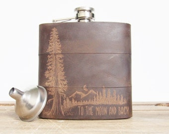 Mountain Man Leather Flask, At Night, Personalized initials, Red Wood Tree, moon, olive leather, wedding hip flasks