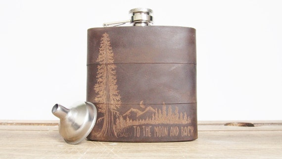 Mountain Man Hip Flask personalised leather flask engraved mountains customised moon gift custom flask for boyfriend camping accessories