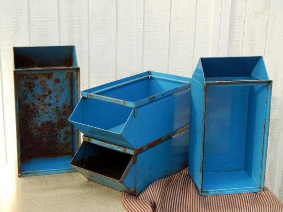 Blue Industrial Stack Bins - Industrial Storage Shelving Vintage