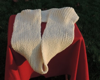 HAND KNITTED Extra Long Soft Scarf/ Cowl/ Snood in Fisherman's Rib.  (Ready to Ship) One Only.