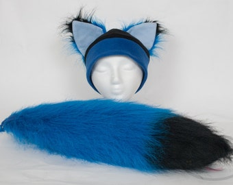 Furry Ear Blue Fox Hat and/or Tail Set