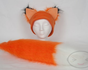 Furry Ear Fox Hat and/or Tail Set
