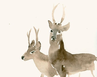 Watercolor Print Two Deer