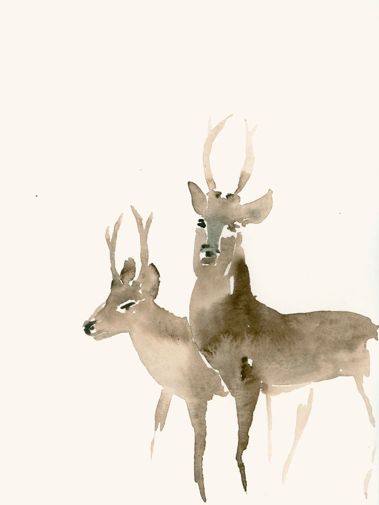 Watercolor Print Two Deer
