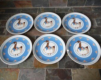 Set of Six George Good Fabrizio 1985 Gray Goose Canadian Geese Plates Mint in Box Great for Fall Feast