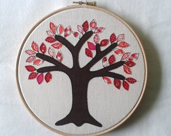 "Ruby anniversary gift - 40 red leaves. Free motion appliqué tree in 8"" wooden hoop frame"
