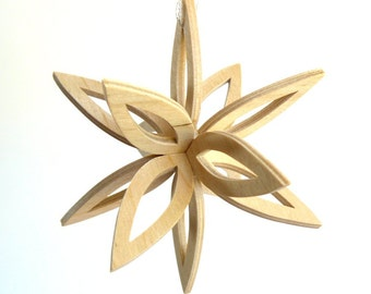 3D Star Ornament, Three Dimensional Snowflake,  Wooden Star, Christmas Ornament, Scroll Saw Holiday Decoration