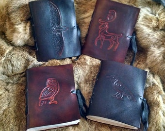 1 Celtic Leather Journal, Handbound, Carved Animals - Choose Your Journal!