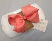 6 inch Coral bow.  Valentines Day.  Hearts. Back to school.  Birthday girl. Ready to ship.