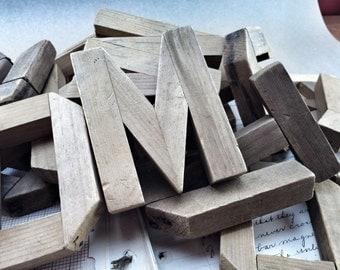 Folk primitive Wooden Letter antique