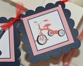 Welcome Baby banner, tricycle banner, tricycle, baby shower banner, navy red