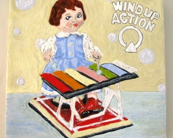 Original Encaustic Painting of Vintage Wind Up Metal Toy - Little Girl Doll Playing Xylophone  - 8'x 8""