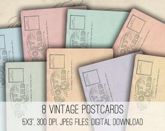 Digital Collage Sheet Download - Vintage Postcards -  1108  - Digital Paper - Instant Download Printables