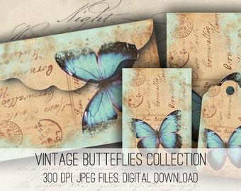 Digital Collage Sheet Download - Vintage Butterfly Envelopes, Tags & Cards - 1158  - Digital Paper - Instant Download Printables
