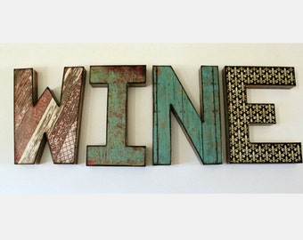 WINE Letters 8 inch Word Wall Shelf Decor