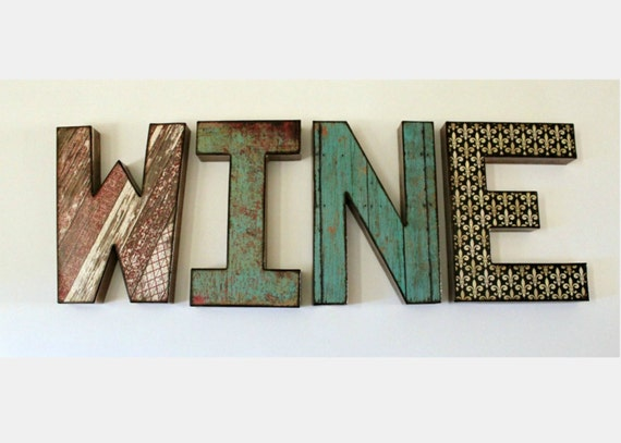 wine letters 8 inch word wall shelf decor. Black Bedroom Furniture Sets. Home Design Ideas