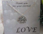 Mother in Law Gift, Mother of the Groom Gift, Sterling Silver Love Necklace, Gifts For Mom,Silver Necklace,Wedding Jewelry,Mothers Necklace