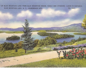 Vintage Linen Postcard..View of Blue Mountain Lake  from Blue Mountain House, Blue Mt Lakes NY, Adirondack Mts...Used..no 1939.