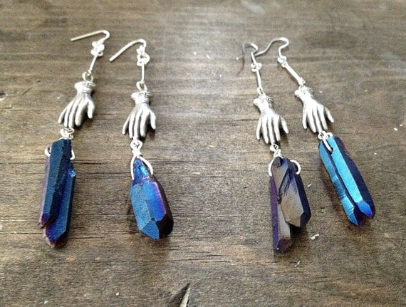handcrafted antique silver mystical hands holding mystic titanium blue rainbow quartz crystal point, dangle earrings.
