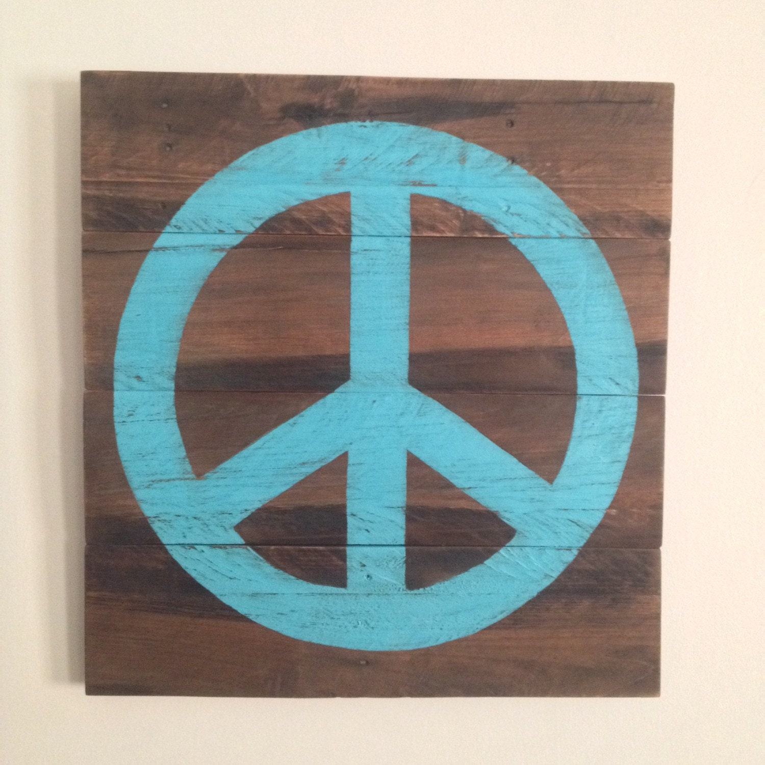 Rustic Wood Wall Decor Painted Peace Sign