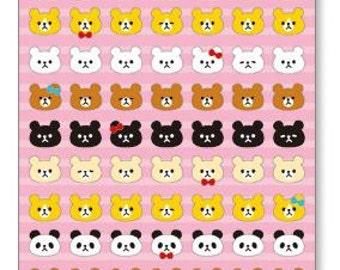 Animal theme pattern Seals  - 1 sheet - Bear sticker, Panda sticker, Bunny sticker tiny Sticker Flakes Sack  Japan sticker 75109