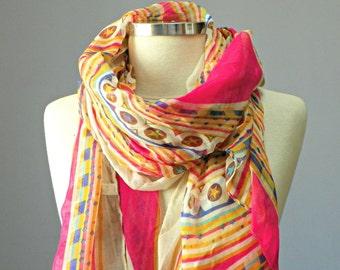 Aztec scarf, long scarf, women scarf, spring scarf