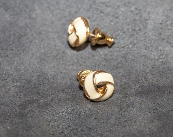 Vintage Monet Earrings White and Gold tone