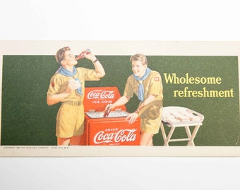 Vintage '42 COCA COLA ink blotter / Coaster-Litho in USA-Very Good Condition