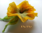 YELLOW GREEN PETUNIA felted flower brooch pin and hair clip of merino wool, handmade, delicate Spring flower adornment, original ornament