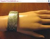 On Sale Etched Vintage Silver Cuff Bracelet-1970's