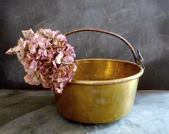 Antique french Rustic Primitive copper pot .