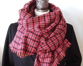 Oversized long scarf, unisex houndstooth scarf, raspberry blanket scarf,  colorfull winter scarf shawl, wool extra large warm winter scarf