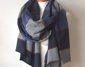 Striped cotton jersey oversized scarf, navy blue & gray unisex winter striped jersey scarf, long blanket scarf, chunky shawl, bohemian wrap