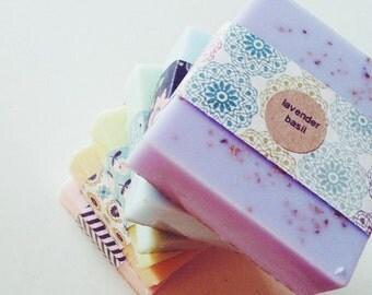 Lavender Basil Soap: handmade goats milk soap, homemade lavender soap