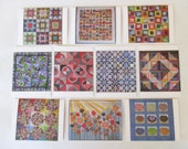 Set of 10 assorted art quilt note cards (folded)