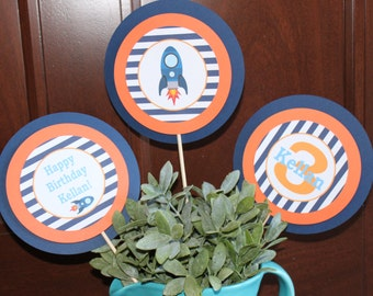 BLAST OFF ROCKET Birthday or Baby Shower 3 Piece Centerpiece - Party Packs Available