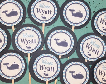 CHEVRON WHALE Birthday or Baby Shower Party Cupcake Toppers Picks set of 12 {One Dozen} Blue Navy - Party Packs Available