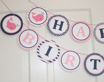 GIRLY PREPPY WHALE Theme Happy Birthday or Baby Shower Party Banner Pink Navy