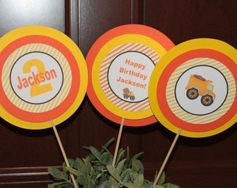 CONSTRUCTION ZONE Theme Happy Birthday or Baby Shower Centerpiece Sticks {Set of 3}