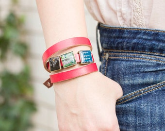 Wrap leather bracelet - circuit board beads - red leather bracelet - geeky girl jewelry - customizable