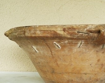 French Antique STAPLED Confit Bowl. VERY RARE....Beautiful Ochre Honey Glaze. Hand Made.