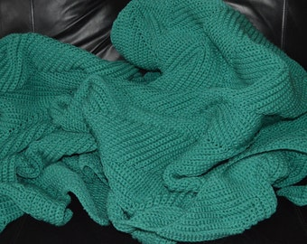 Large Crocheted Ripple Afghan in Jade